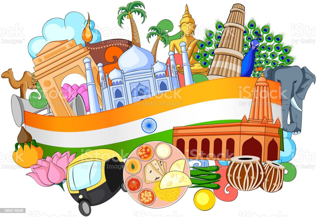 Doodle showing Architecture and Culture of India vector art illustration
