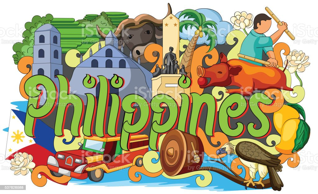 Doodle showing Architecture and Culture of Philippines vector art illustration