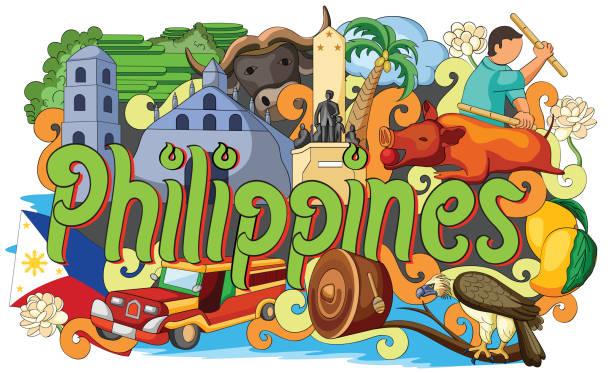 stockillustraties, clipart, cartoons en iconen met doodle showing architecture and culture of philippines - filipijnen