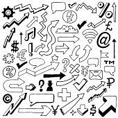 Doodle signs, icons and arrows set. Vector illustration.