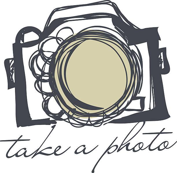 doodle sketch camera向量藝術插圖