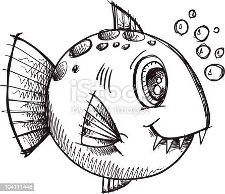 Doodle croquis mignon de poissons cliparts vectoriels et - Croquis poisson ...