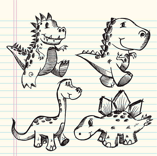 Doodle Sketch Dinosaur Set vector art illustration