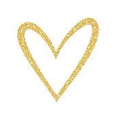 Doodle sketch heart shape gold glitter frame