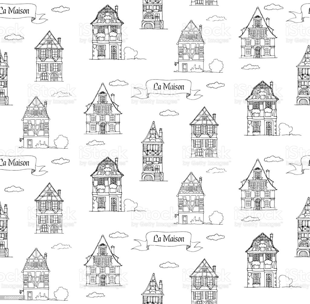 Doodle croquis maison dans un modèle sans couture traditionnelle de style européen - Illustration vectorielle