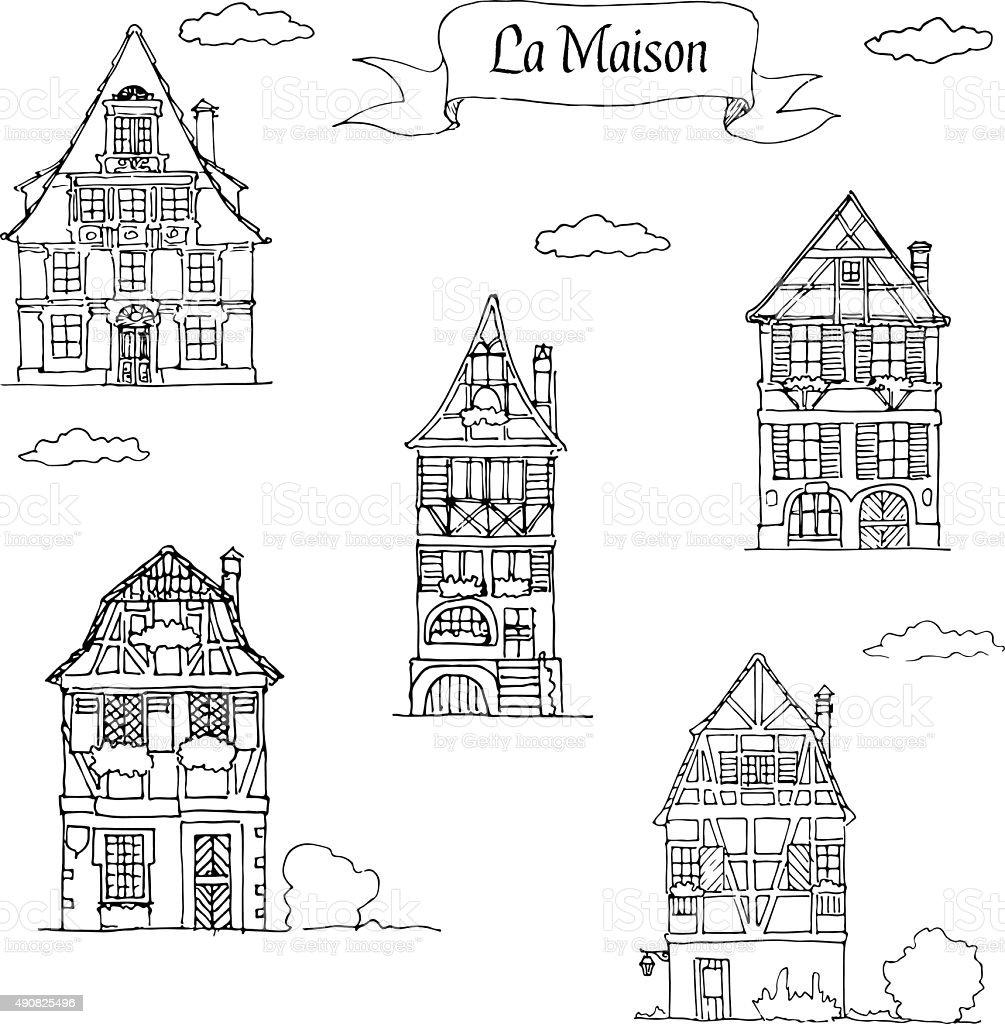 Doodle Croquis de la maison dans une chambre traditionnelle de style européen. - Illustration vectorielle
