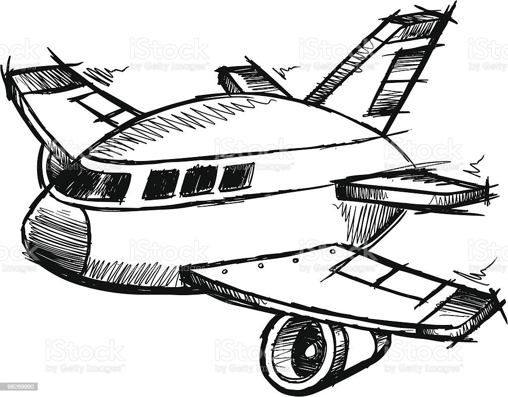 Doodle Sketch Jumbo Jet royalty-free doodle sketch jumbo jet stock vector art & more images of air vehicle