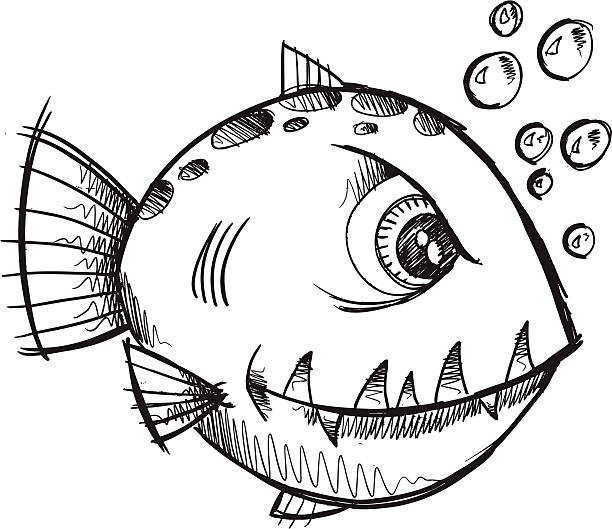 Doodle Sketch Mean Fish vector art illustration