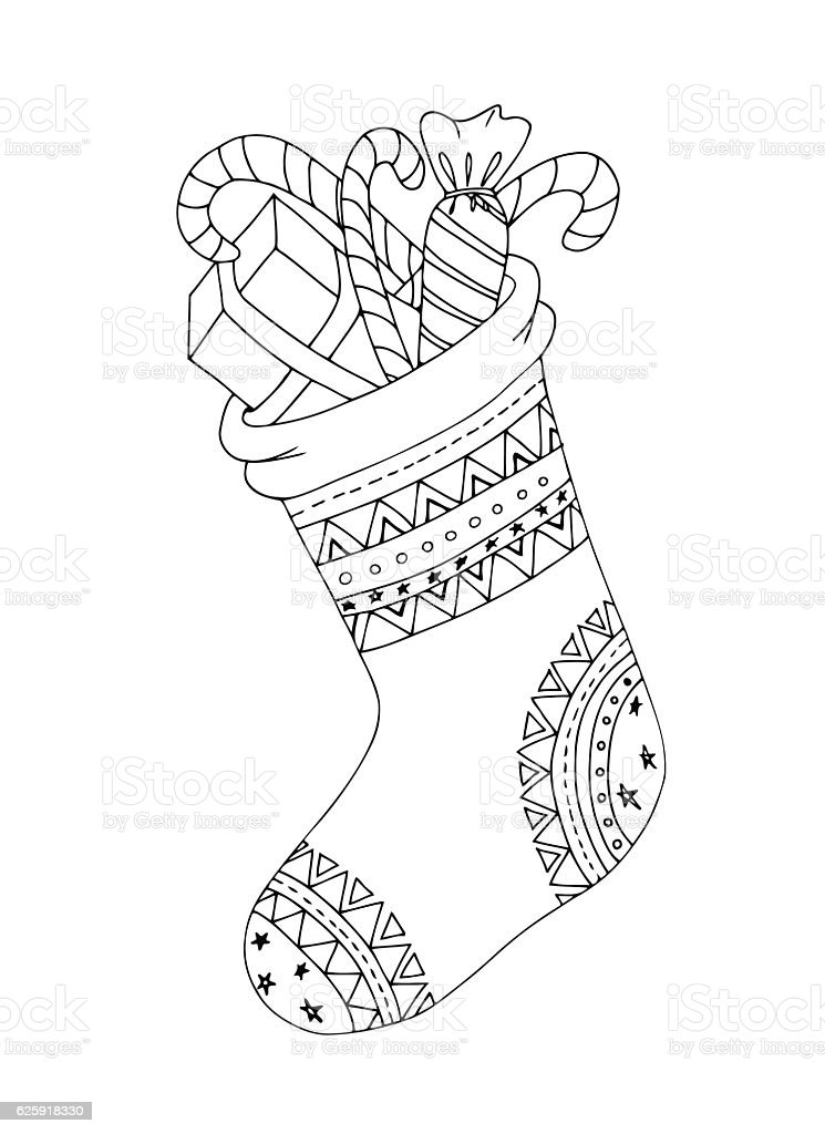 Doodle sketch of Christmas sock in black and white . vector art illustration