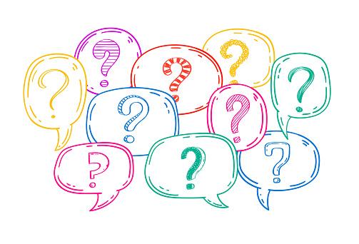 Doodle sketch question marks set inside speech bubbles