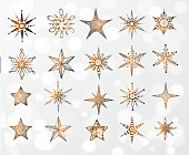 Doodle sketch snowflakes and stars
