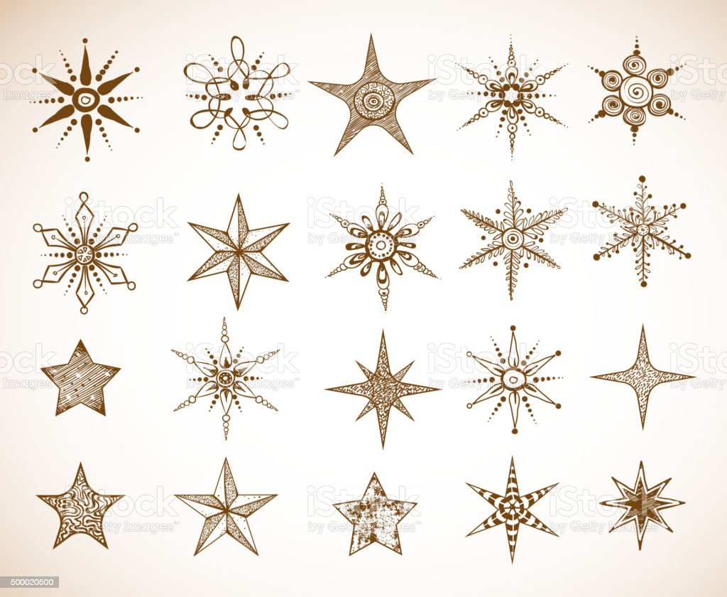Doodle sketch snowflakes and stars Doodle sketch snowflakes and stars 2015 stock vector