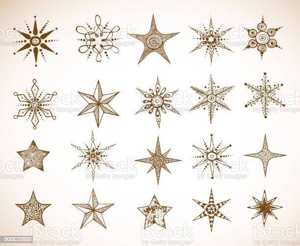 Doodle Sketch Snowflakes And Stars Stock Illustration - Download Image Now