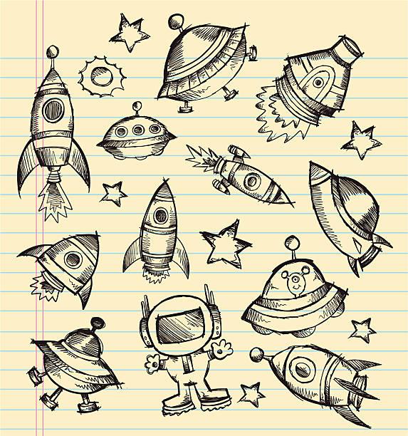 Doodle Sketch Space Set vector art illustration