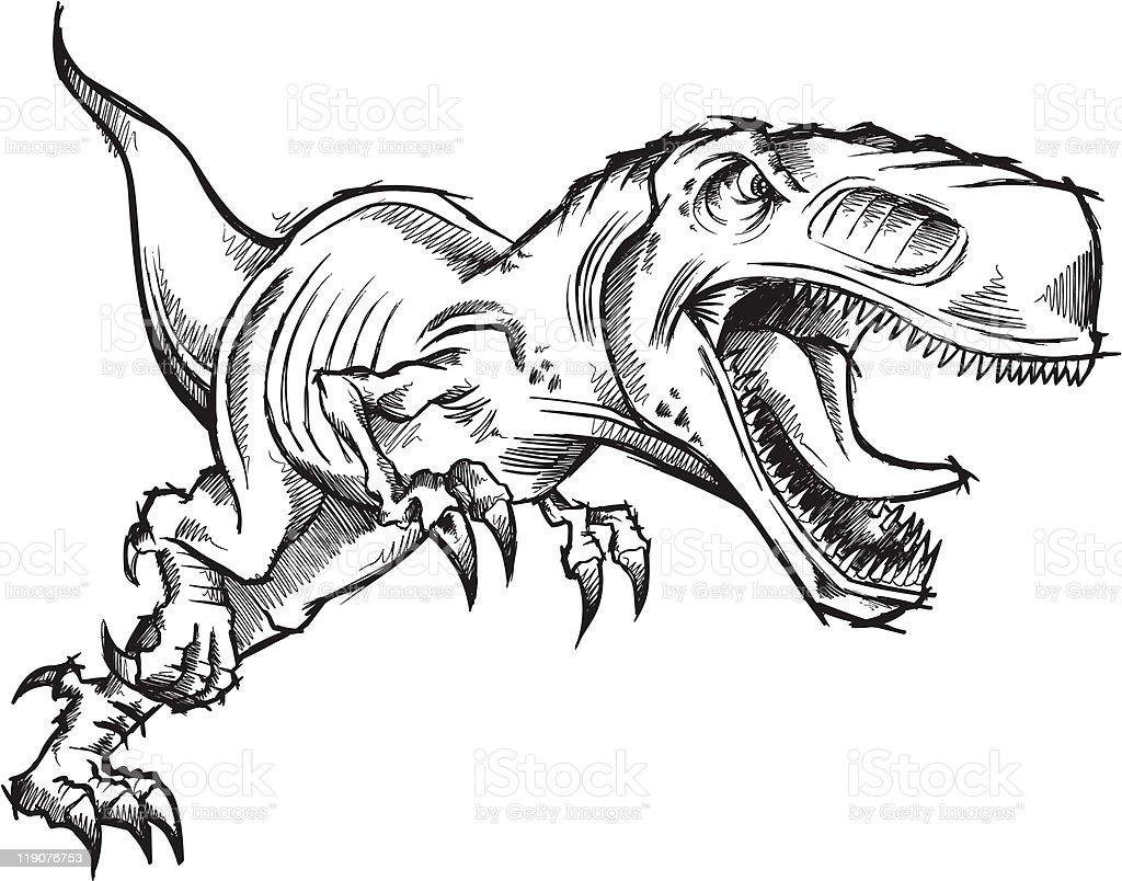 doodle sketch tyrannosaurus dinosaur stock vector art 119076753