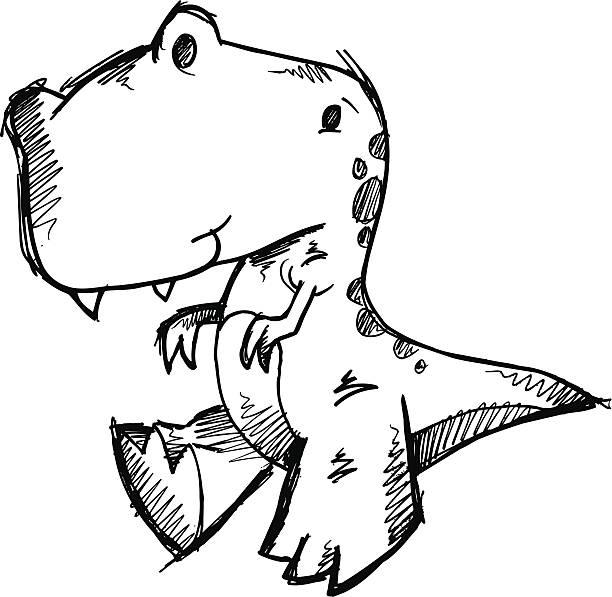 Doodle Sketch Tyrannosaurus Dinosaur vector art illustration