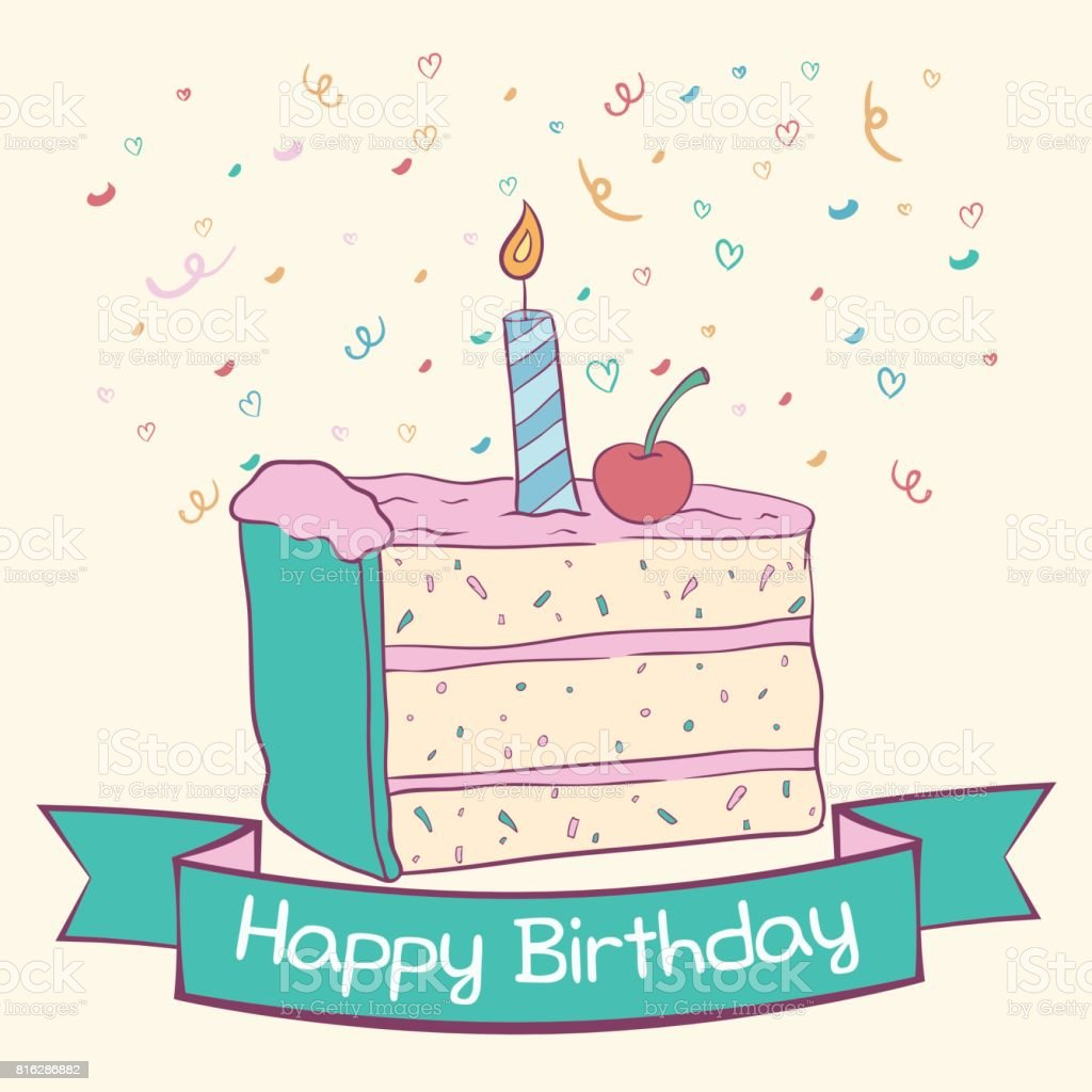 Surprising Doodle Slice Birthday Cake With Candle And Text Stock Illustration Funny Birthday Cards Online Bapapcheapnameinfo