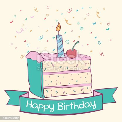 Doodle Slice Birthday Cake With Candle And Text Stock Vector Art