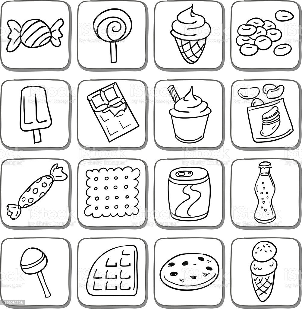 Doodle snack icon set in black and white vector art illustration