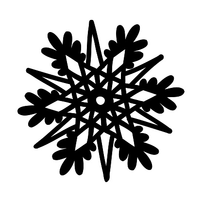 doodle snowflake drawn with black lines. silhouette of a snowflake for plotter cutting. vector illustration isolated on white background.