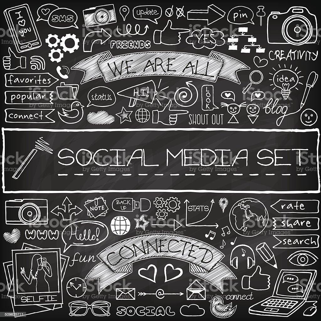Doodle social media icons set with chalkboard effect vector art illustration