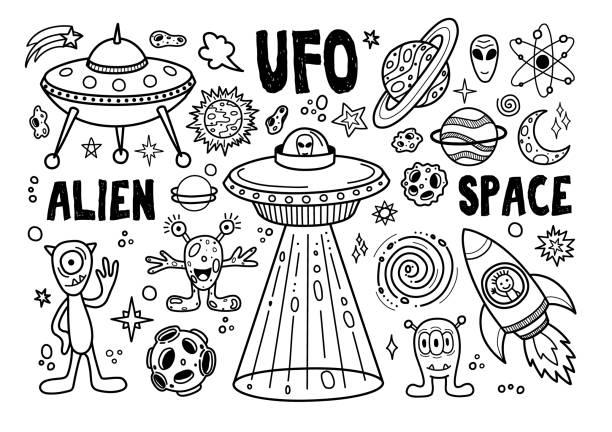 stockillustraties, clipart, cartoons en iconen met doodle ruimte elementen. - buitenaards wezen