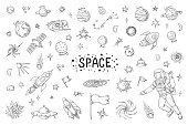 Doodle space. Trendy universe pattern, star astronaut meteor rocket comet astronomy elements. Vector cosmic pencil sketch elements drawing