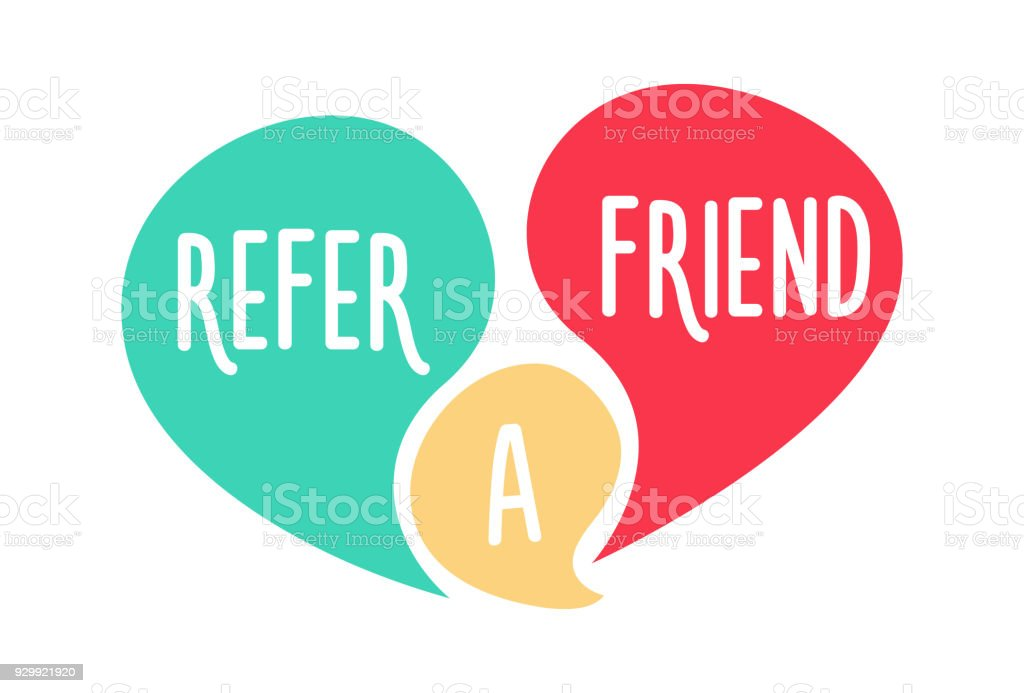 Doodle speech bubbles with Refer a Friend message. Vector hand drawn icon design