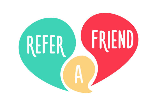 doodle speech bubbles with refer a friend message. vector hand drawn icon design - friends stock illustrations