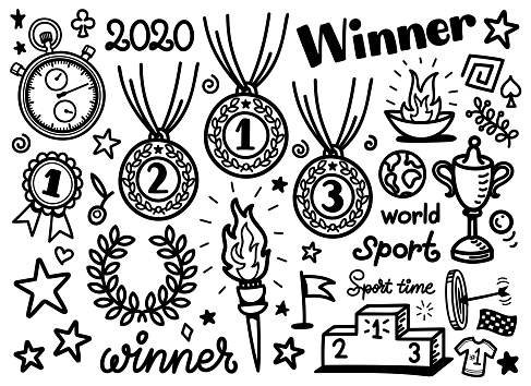 Doodle sporting equipment icons