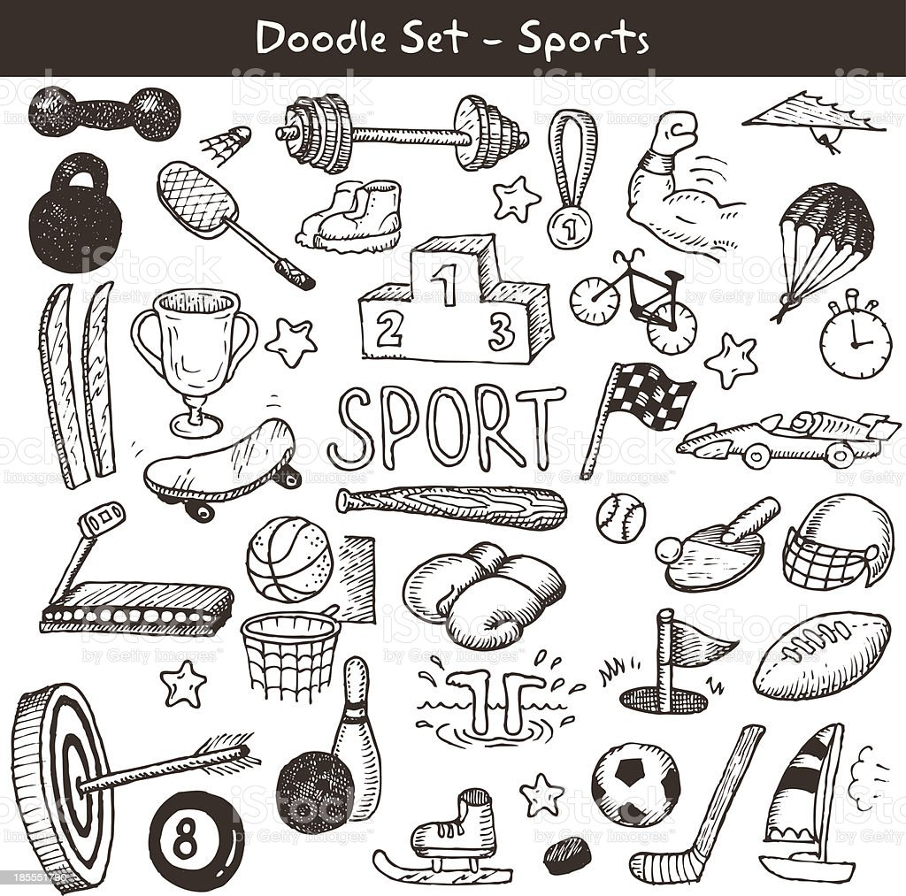 Doodle sports. Vector illustration. royalty-free stock vector art