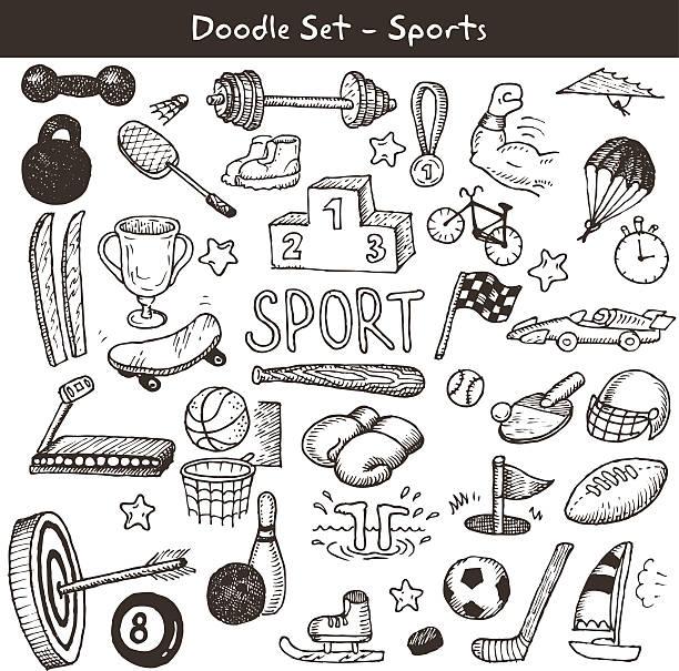 doodle sports. vector illustration. - sports equipment stock illustrations, clip art, cartoons, & icons