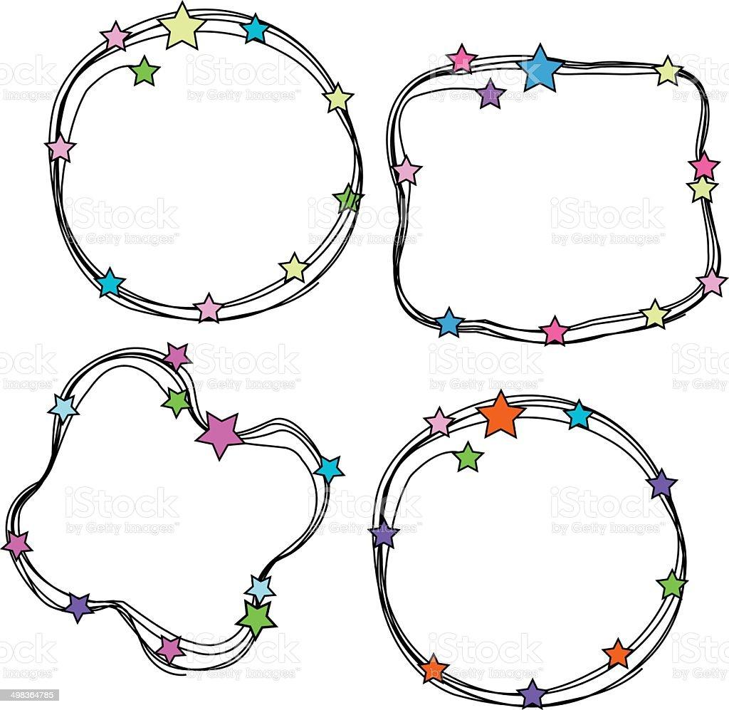 doodle stars frames set向量藝術插圖