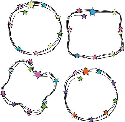 Doodle Stars Frames Set向量圖形及更多創作性圖片