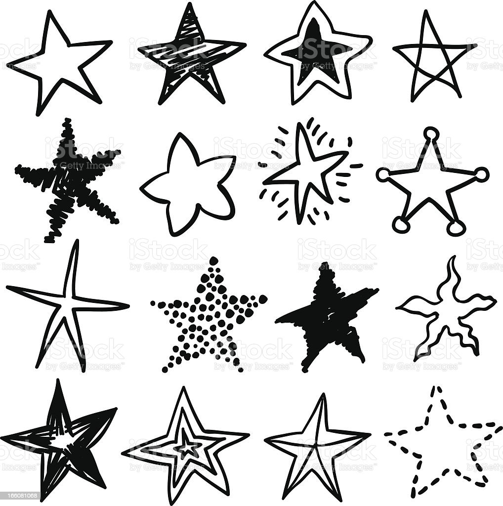 Doodle stars in black and white vector art illustration