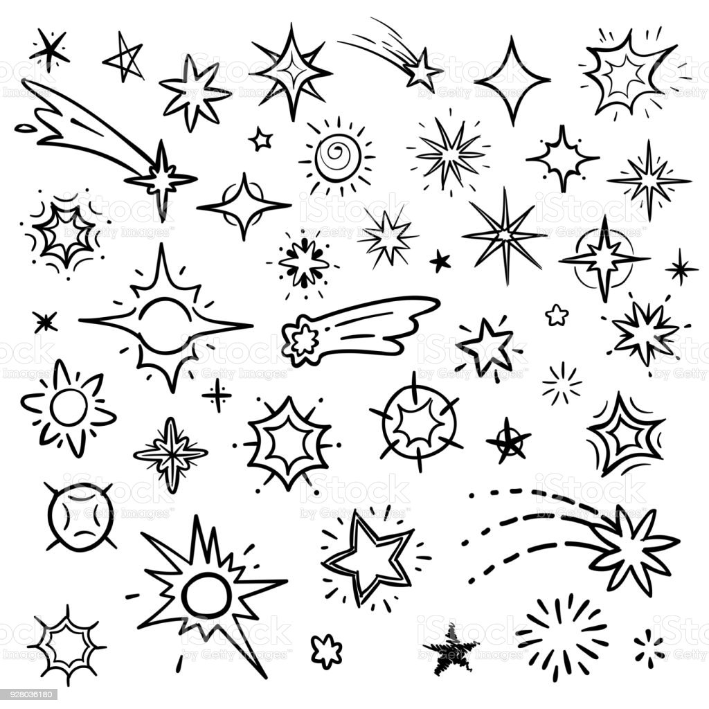 Doodle stars vector set isolated on white. Hand drawn sky with star and comets collection royalty-free doodle stars vector set isolated on white hand drawn sky with star and comets collection stock illustration - download image now