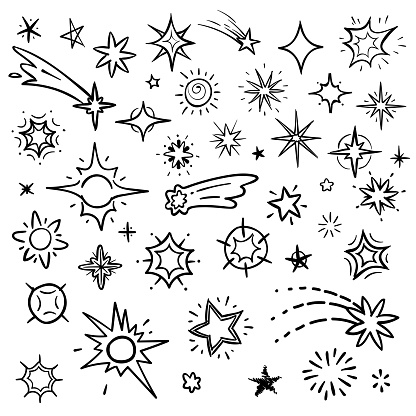Doodle stars vector set isolated on white. Hand drawn sky with star and comets collection