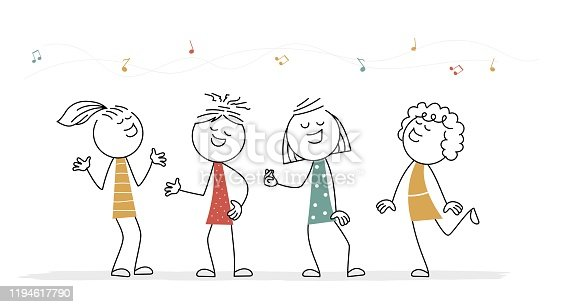 istock Doodle stick figure: Girls singing. 1194617790