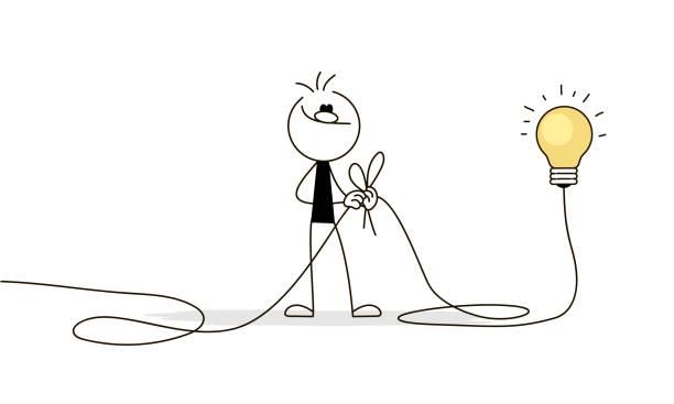 bildbanksillustrationer, clip art samt tecknat material och ikoner med doodle stick figur: man ansluter tråd. affärs metafor. - hand tänder ett ljus