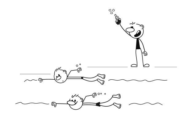 ilustrações de stock, clip art, desenhos animados e ícones de doodle stick figure - swim arms