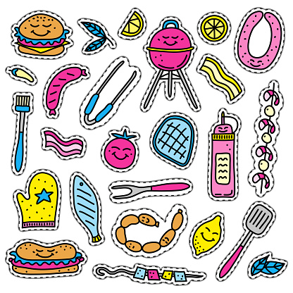 Doodle stickers with barbecue foods.