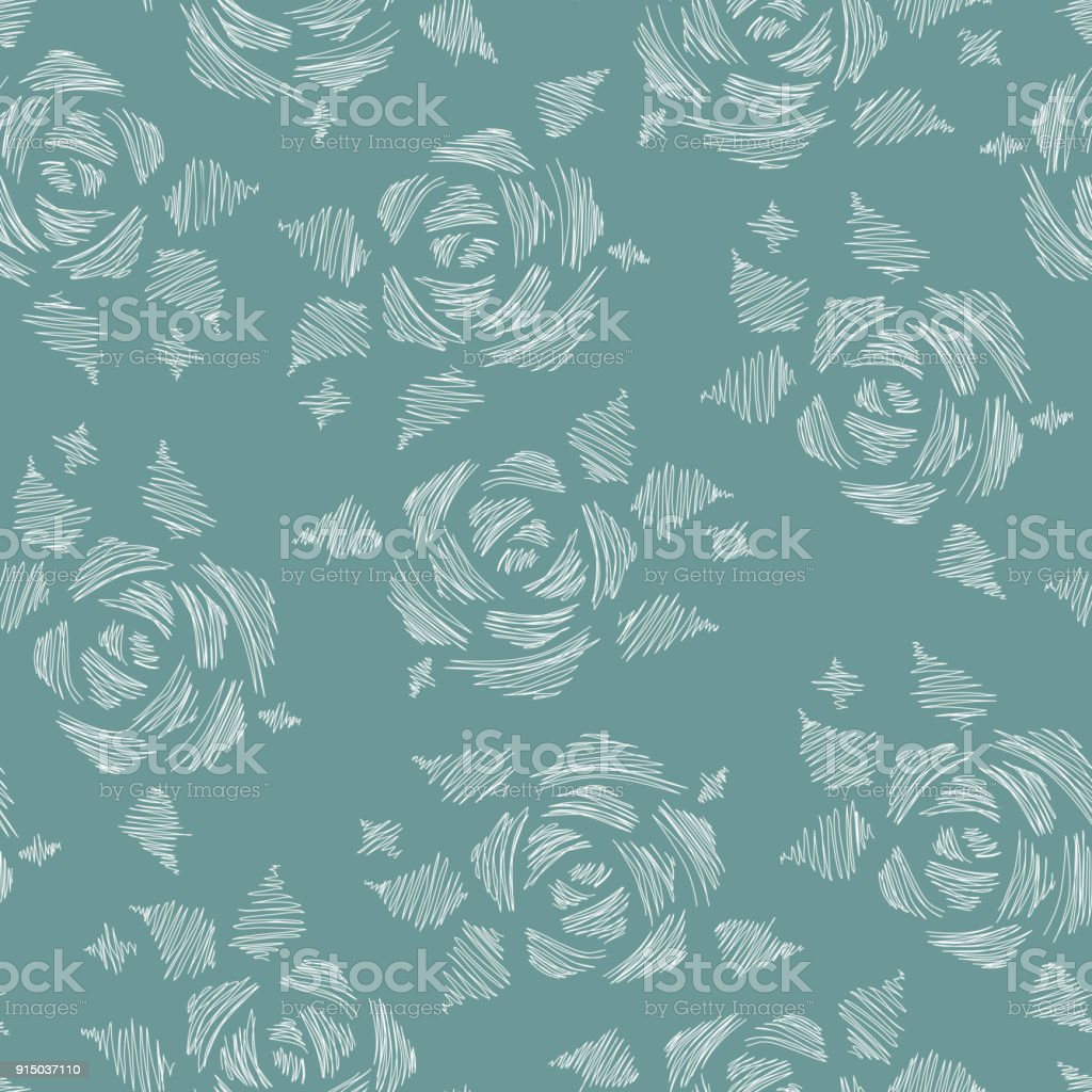 Doodle Strokes Flowers Roses Floral Seamless Pattern Vintage Background Royalty
