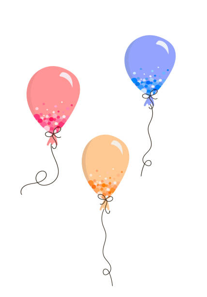 Doodle style balloon poster, vector multi-colored balloons for holidays vector art illustration