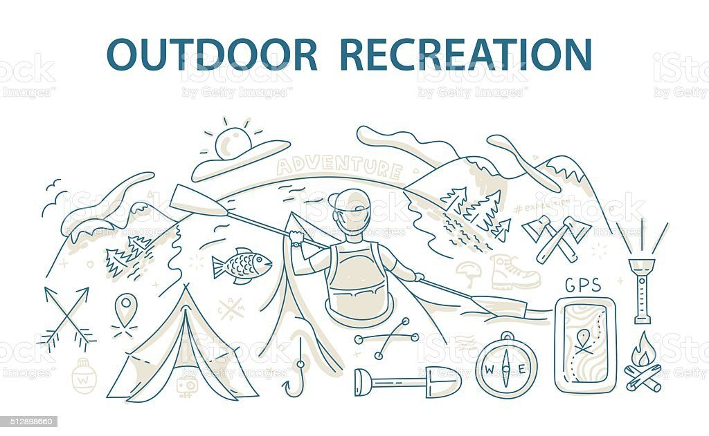 Doodle style design concept of outdoor recreation and travel vector art illustration