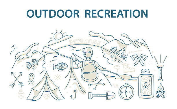 doodle style design concept of outdoor recreation and travel - kayaking stock illustrations, clip art, cartoons, & icons