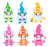Doodle style flat vector scandinavian easter gnomes with bunny ears set