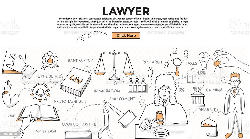 Doodle style. Lawyer concept. Modern line style concept for web vector art illustration