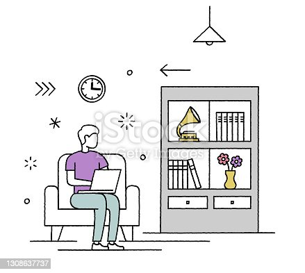 istock Doodle Style Line Coworking Space Character Illustration 1308637737