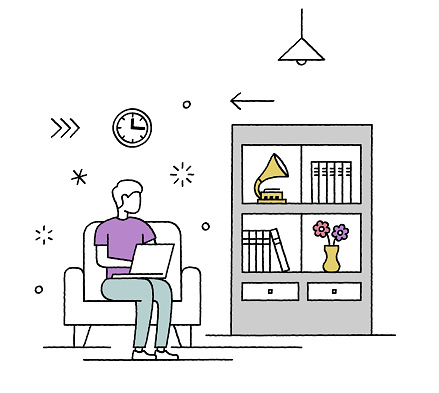 Creative coworking memberships and resources character illustration for websites, applications, and print. Hand-drawn vector scenes with editable strokes that you can change the lines' size and add colors if needed.