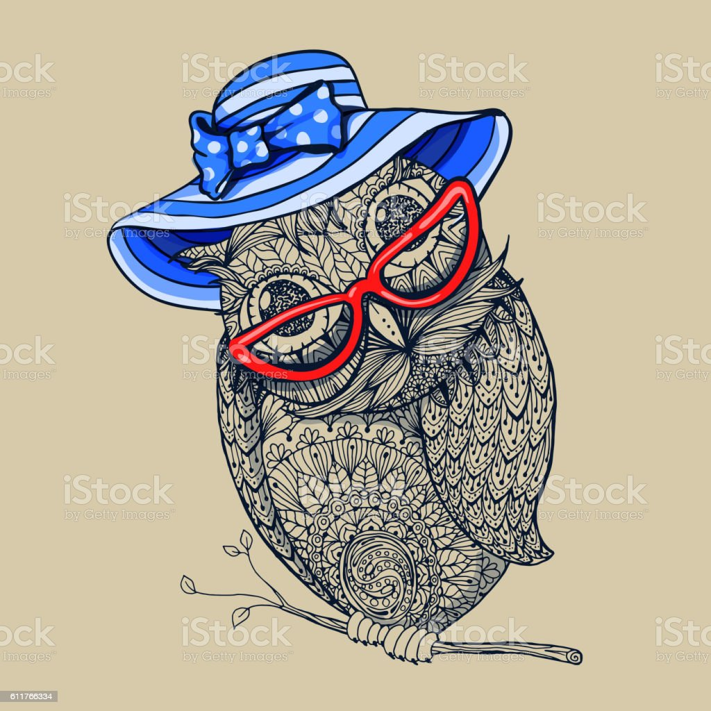 Doodle style owl in summer blue stripped hat and red eyeglasses....